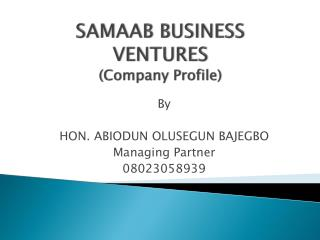 SAMAAB BUSINESS VENTURES (Company Profile)