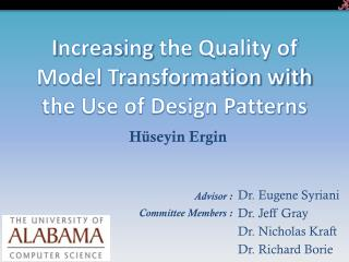 I ncreas ing  the Quality of Model Transformation with the Use of Design Patterns