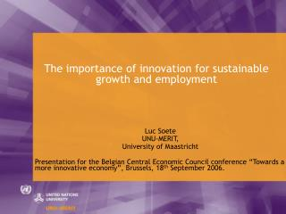 The importance of innovation for sustainable growth and employment