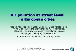 Air pollution at street level  in European cities