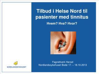 Tilbud i Helse Nord til pasienter med  tinnitus Hvem? Hva? Hvor?