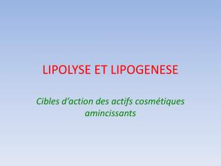 LIPOLYSE ET LIPOGENESE