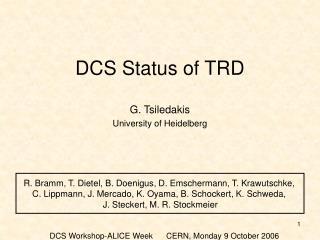DCS Status of TRD