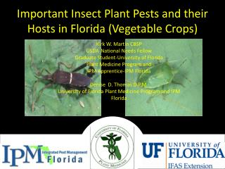 Important Insect Plant Pests and their Hosts in Florida (Vegetable Crops)