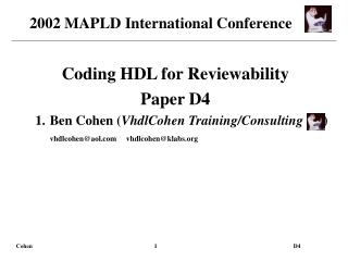 Coding HDL for Reviewability Paper D4 Ben Cohen VhdlCohen Training
