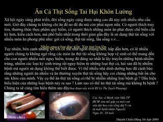 Ăn Cá Thịt Sống Tai Hại Khôn Lường