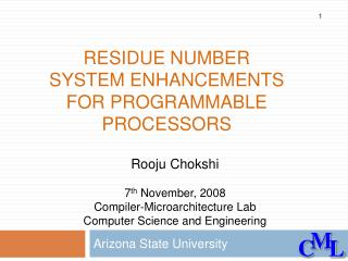Residue number system enhancements for programmable processors