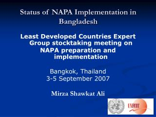 Status of NAPA Implementation in Bangladesh