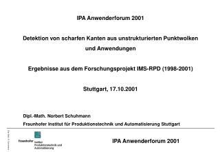 IPA Anwenderforum 2001 Detektion von scharfen Kanten aus unstrukturierten Punktwolken