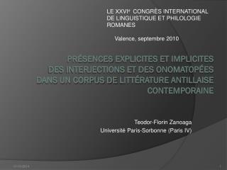 Teodor-Florin Zanoaga Université Paris-Sorbonne (Paris IV)