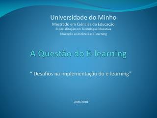 A Questão do E-learning