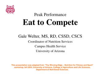 Peak Performance Eat to Compete