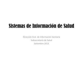 Sistemas de Información de Salud