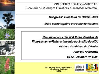 MINISTÉRIO DO MEIO AMBIENTE Secretaria de Mudanças Climáticas e Qualidade Ambiental