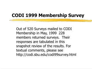 CODI 1999 Membership Survey
