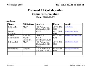 Proposed AP Collaboration Comment Resolution