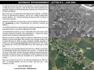 BAZEMONT ENVIRONNEMENT - LETTRE N°3 – JUIN 2004