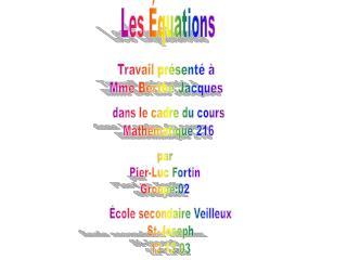 Les Équations