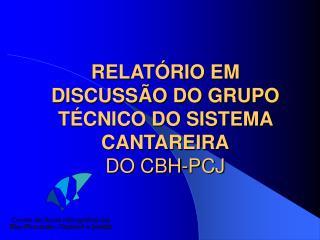RELATÓRIO EM DISCUSSÃO DO GRUPO TÉCNICO DO SISTEMA CANTAREIRA DO CBH-PCJ