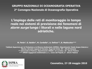 GRUPPO NAZIONALE DI OCEANOGRAFIA OPERATIVA 2° Convegno Nazionale di Oceanografia Operativa