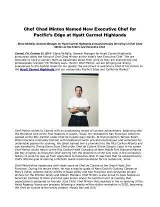 Chef Chad Minton Named New Executive Chef for Pacific�s Edge