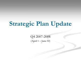Strategic Plan Update