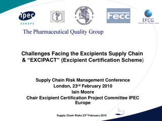 """Challenges Facing the Excipients Supply Chain  & """"EXCIPACT"""" (Excipient Certification Scheme )"""