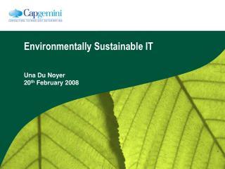 Environmentally Sustainable IT