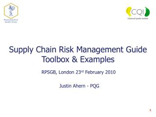 Supply Chain Risk Management Guide  Toolbox & Examples