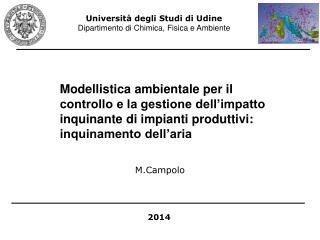 Universit� degli Studi di Udine Dipartimento di Chimica, Fisica e Ambiente