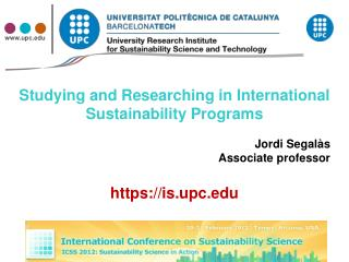 Studying and Researching in International Sustainability Programs Jordi  Segalàs