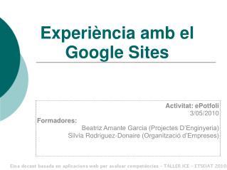 Experiència amb  el Google Sites