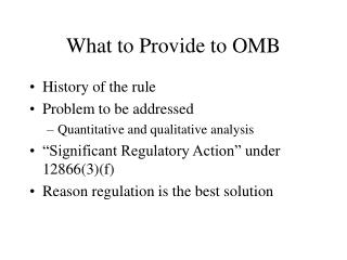 What to Provide to OMB