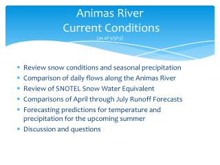 Animas River  Current Conditions (as of 5/3/13)