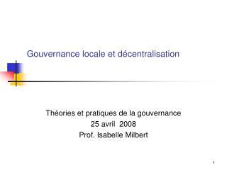 Gouvernance locale et décentralisation