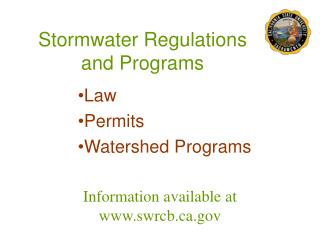 Stormwater Regulations and Programs