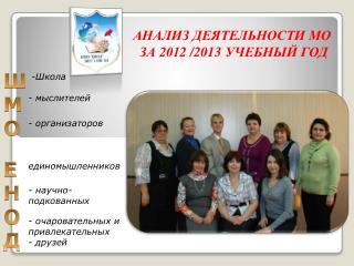АНАЛИЗ ДЕЯТЕЛЬНОСТИ МО  ЗА 201 2  /201 3  УЧЕБНЫЙ ГОД