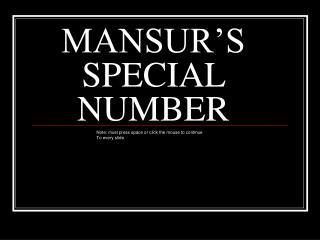 MANSUR'S SPECIAL NUMBER