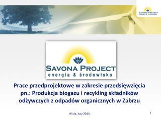 PLAN PREZENTACJI: SAVONA PROJECT Sp. z o.o. - wykonawca prac przedprojektowych