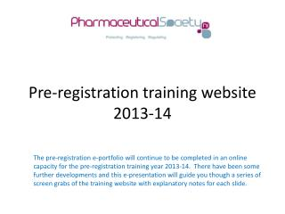 Pre-registration training website 2013-14