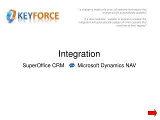 Integration SuperOffice CRM          Microsoft Dynamics NAV