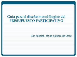 Gu�a para el dise�o metod�logico del PRESUPUESTO PARTICIPATIVO