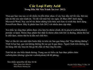 Các Loại Fatty Acid  Trong Dầu Mỡ Nên  Tránh  Ăn (ver: 2012)