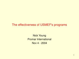 The effectiveness of USMEF's programs