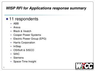 WISP RFI for Applications response summary