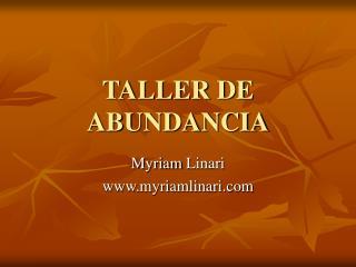 TALLER DE ABUNDANCIA
