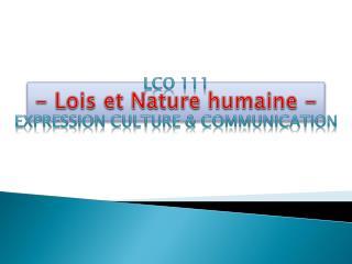 - Lois et Nature humaine -