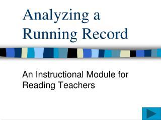 Analyzing a Running Record