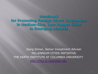 Joerg Simon, Senior Investment Adviser MILLENNIUM CITIES INITIATIVE