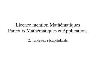 Licence mention Mathématiques Parcours Mathématiques et Applications